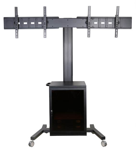 """Video Conference Stand Dual Screen 30-60"""" Lockable Cabinet (VRS 2000)"""