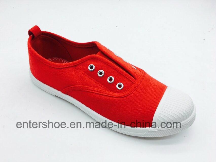 Red Color Canvas Kids Shoes Without Shoelace (ET-AL160252K)