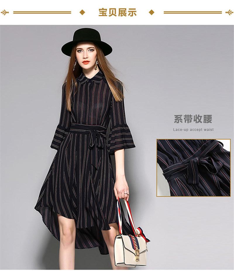 High-Waist Irregular Hemline Striped Women Dress with Puff Sleeve