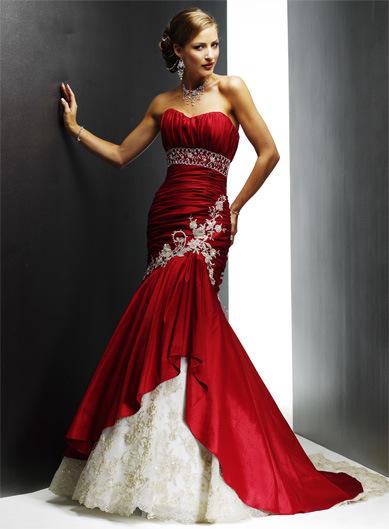 Θ Dye this dance with crimson drops [Trama Global] Lace-Strapless-Sexy-Neckline-Mermaid-Wedding-Gown
