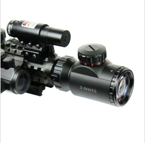3-9X40 Illuminated Tactical Rifle Scope & Red Laser & Holographic DOT Sight