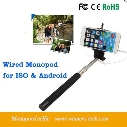 china wired selfie stick gopro monopod handheld monopod for iphone 6 5s palo selfie remote. Black Bedroom Furniture Sets. Home Design Ideas