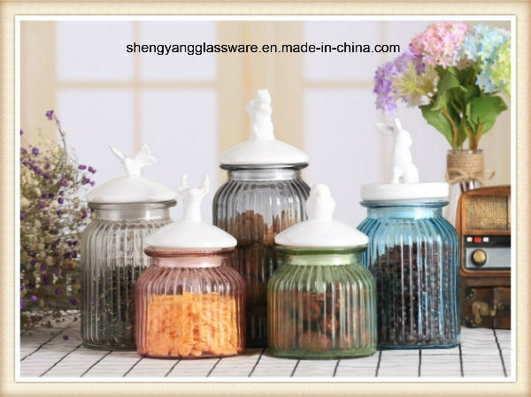 5PCS Colours Small Glass Storage Jar Set with Ceramic Lid/Candy Jar/Food Container