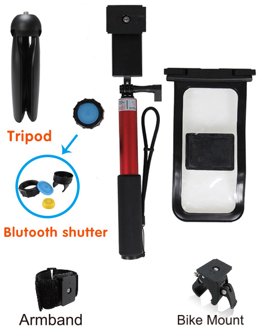 Waterproof Selfie Stick Full Kit Set and Waterproof Pouch with Mobile Phone