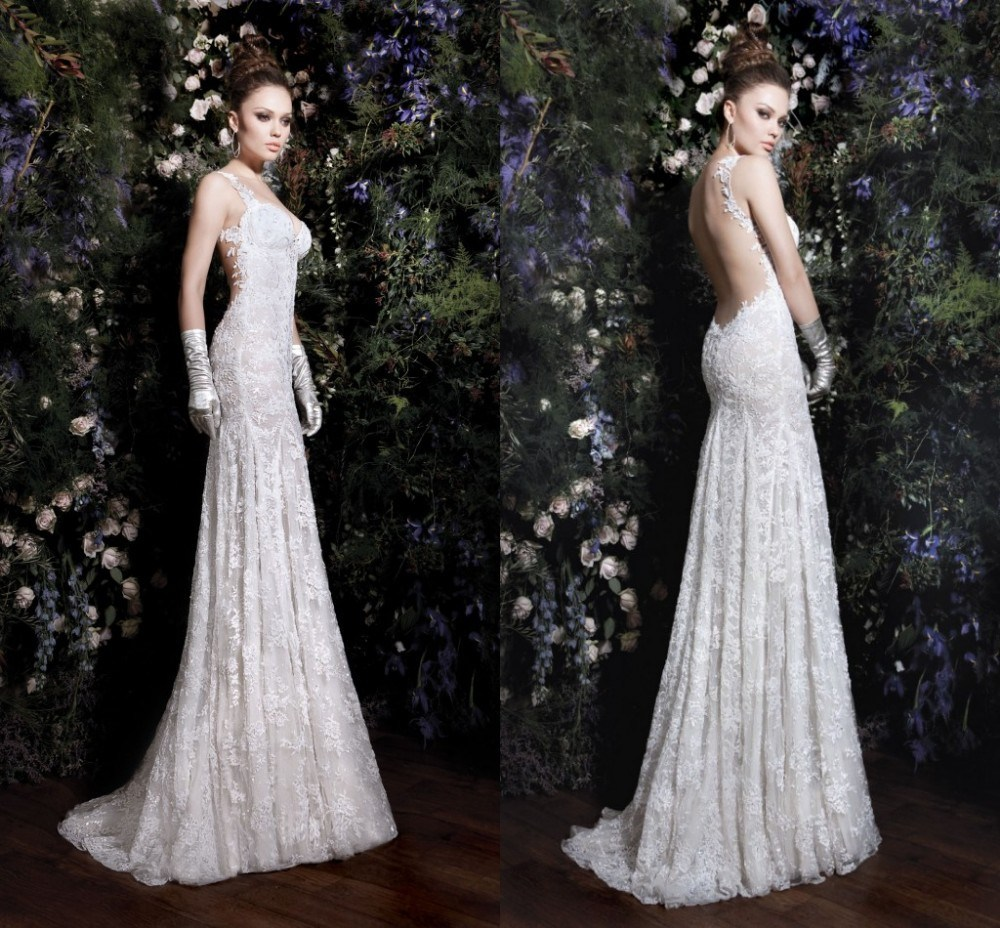 China sheath bridal gown galia lahav pleat sexy backless for Backless sheath wedding dresses