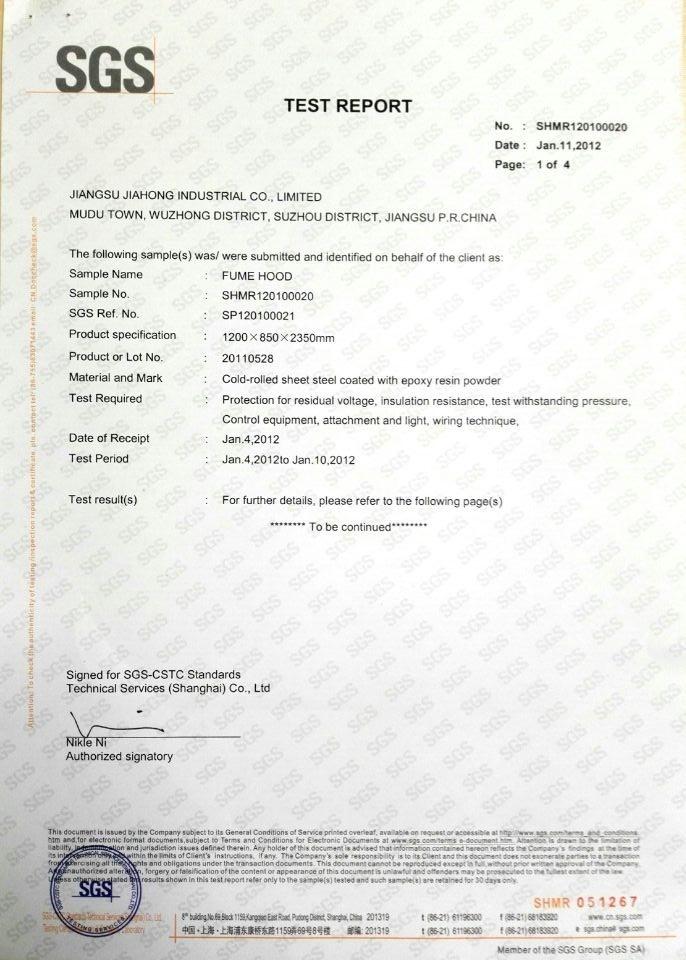 SGS Certified High Quality Steel Fume Hood