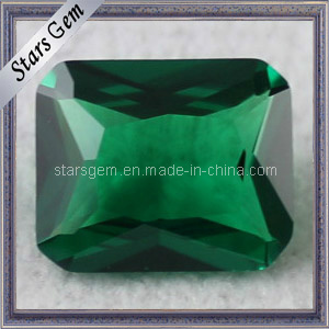 Cushion Cut Green Color Loose Beads Synthetic Emerald Nano