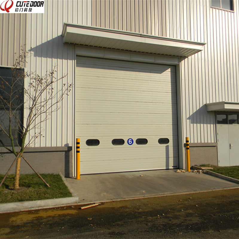 Automatic Industrial Sectional Overhead Shutter Door with Window Viewer