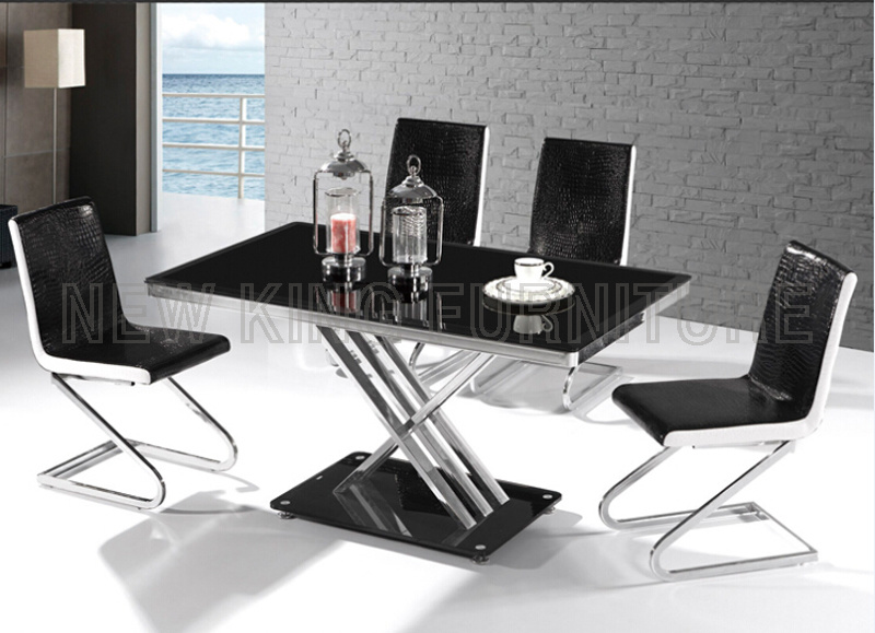 Modern Fashion Temper Glass Top with Stainless Steel Foot Dining Table (NK-DT043)