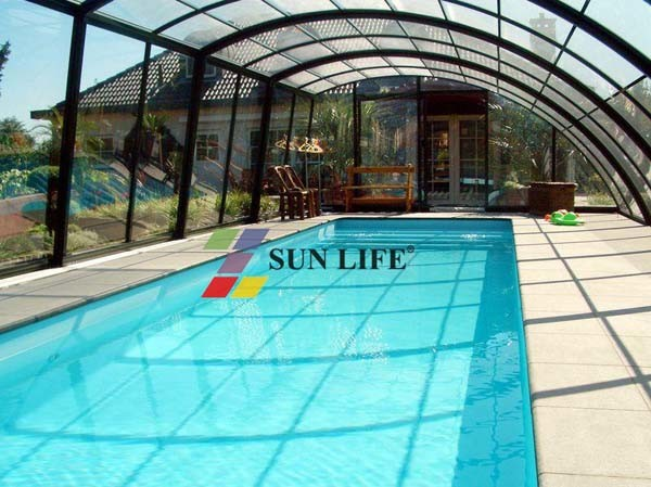China sunlife retractable swimming pool covers sl no32 china swimming pool glass covers for Retractable swimming pool covers