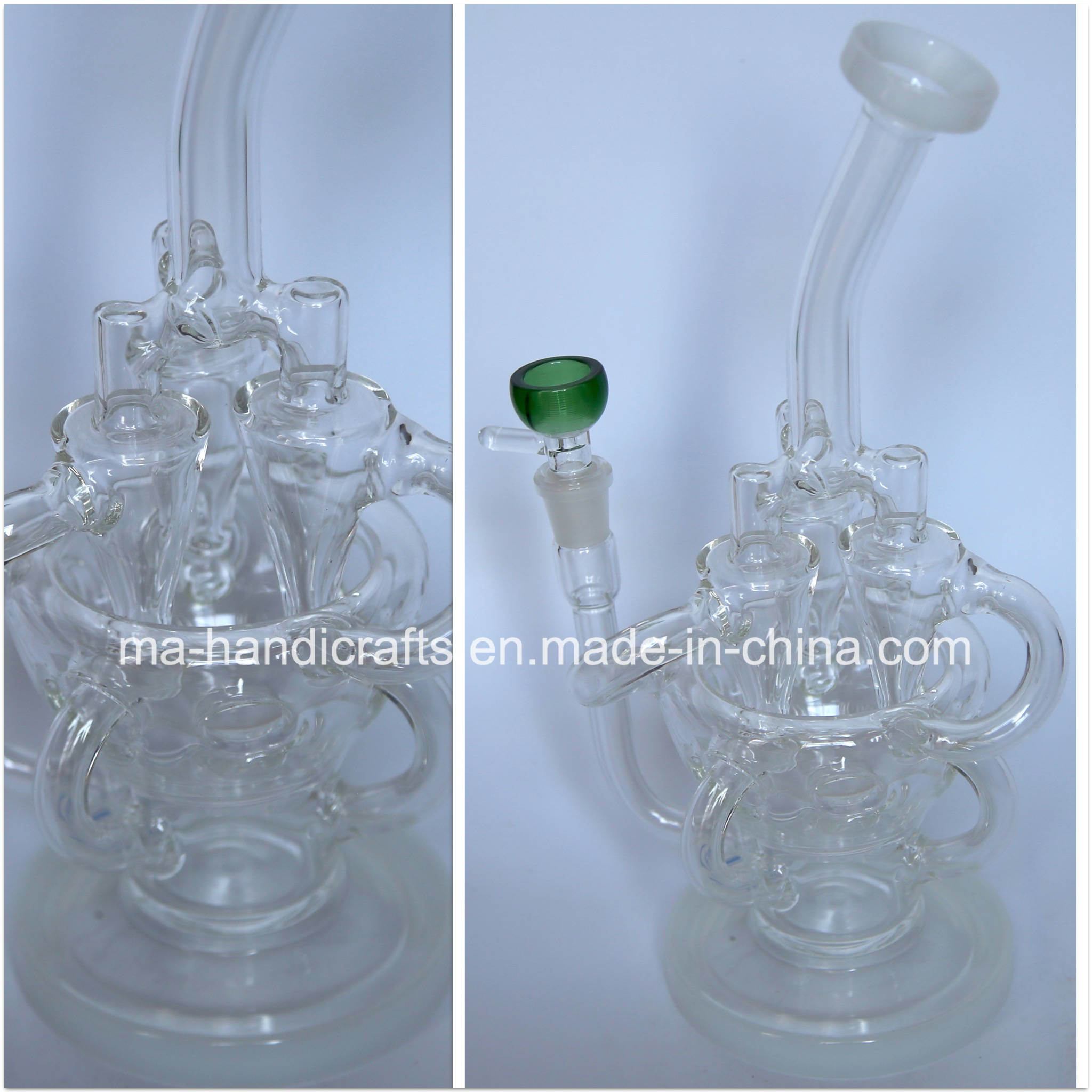 12 Inch Glass Recycler Bubbler Smoking Glass Water Pipes Oil DAB Rigs