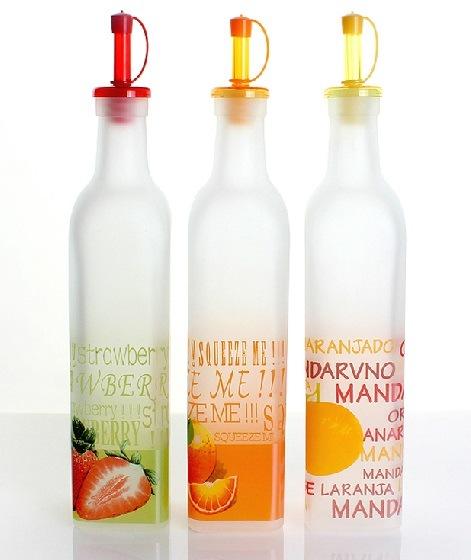 Glass Bottle in Kitchen for Storage Oil Vinegar
