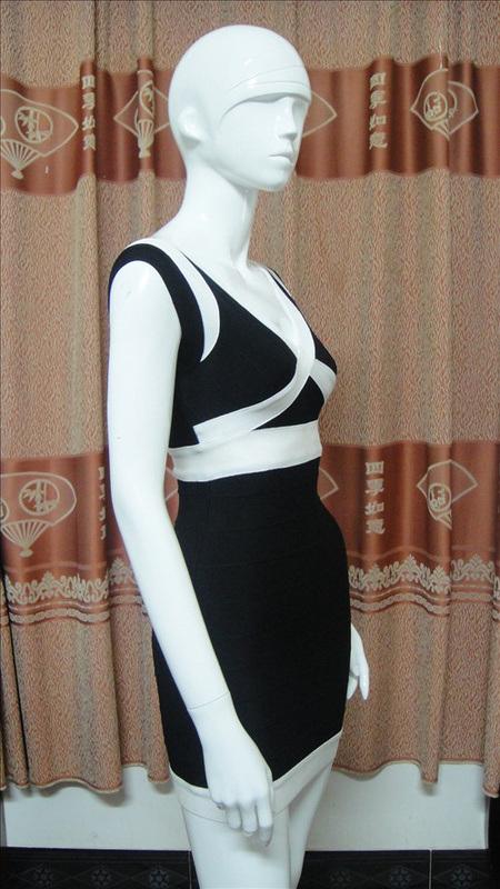 Black White Sexy Deep V Tube Neck Backless Wedding Dresses