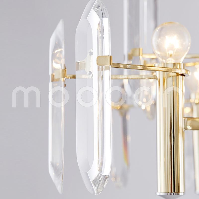 Modern Simple Champagne Golden Metal Crystal Chandelier for Living Room