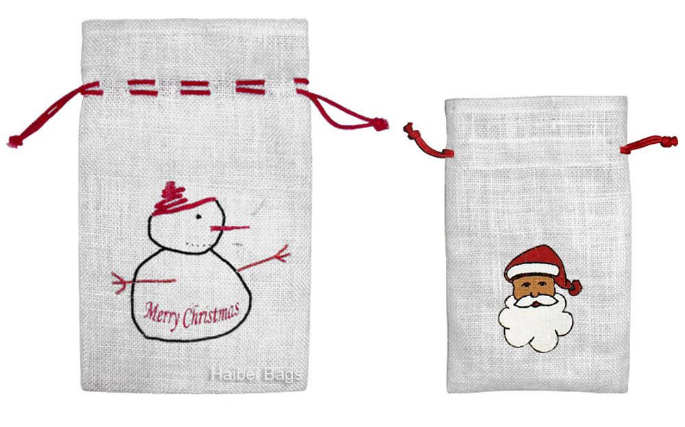 Christmas Jute Drawstring Bag (JDB-3)