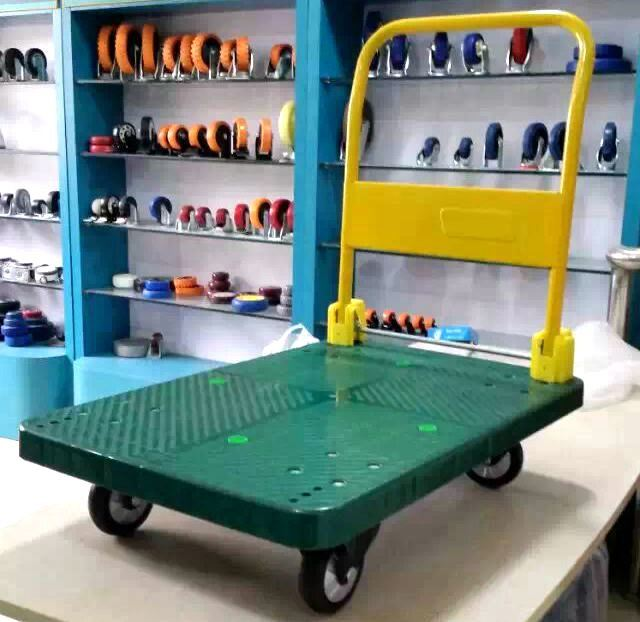 300kg Plastic Platform Hand Truck Foldable Trolley with PU Caster
