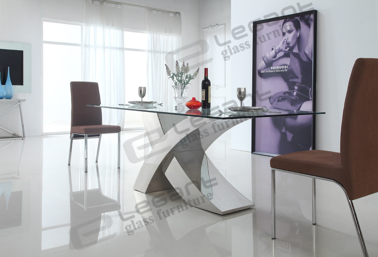 China 2014 modern glass dining table and stainless steel dining table china dining table - Designer glass dining tables ...