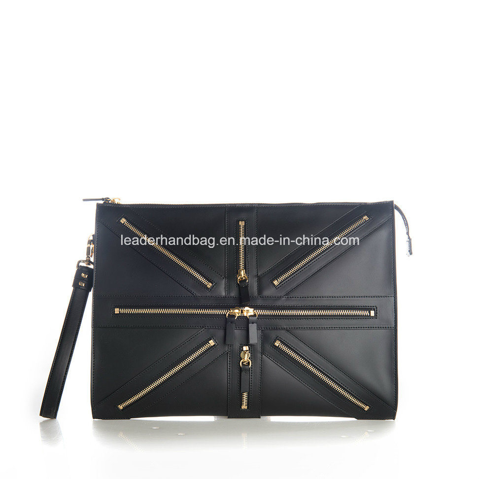 Unisex PU Genuine Leather Decorative Chain Purse Clutches Leather Handbags (LDA-016)