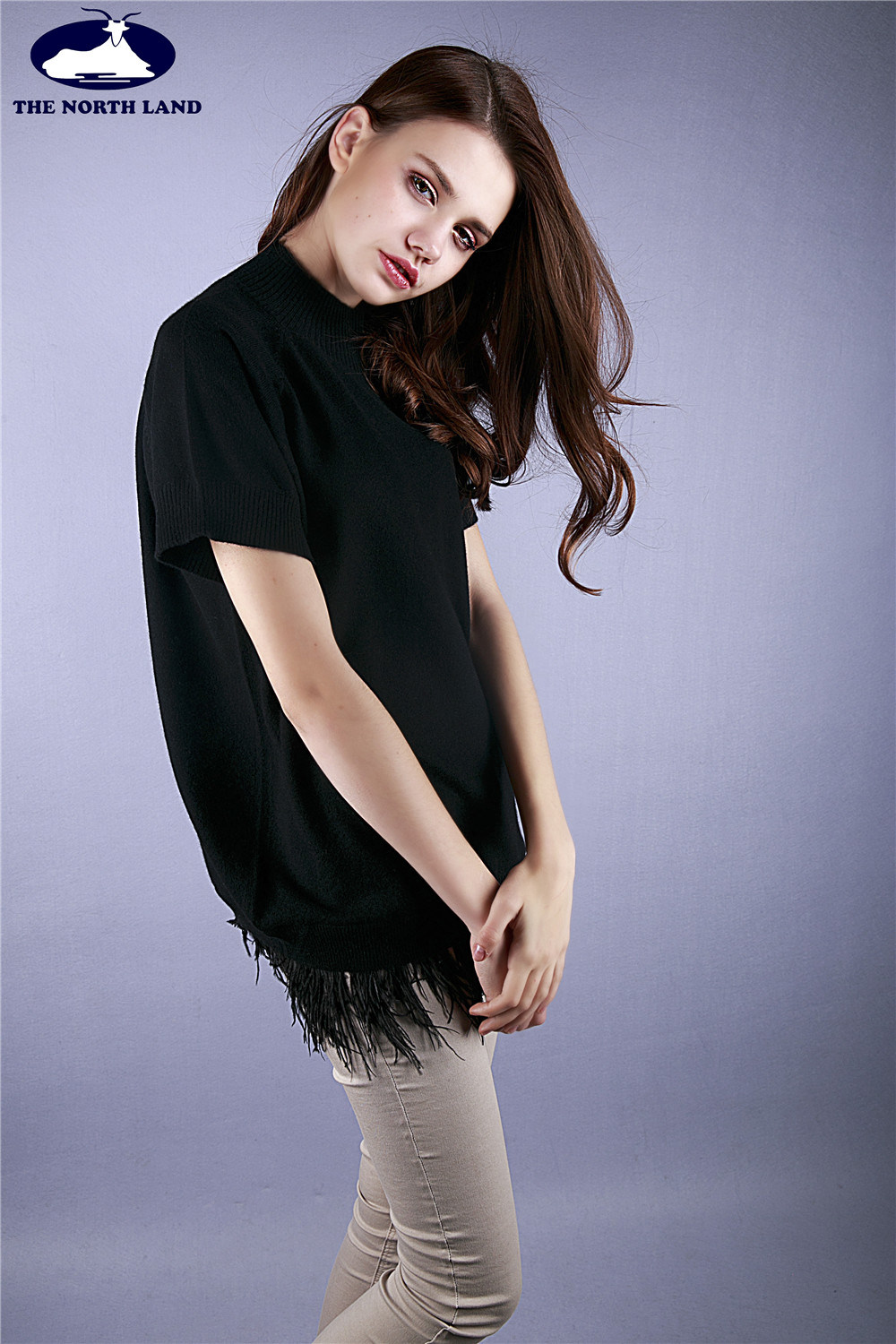 Cashmere High Neck Pullover with Feather Hem