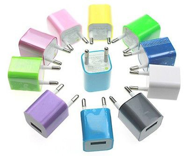 Colorful EU Plug USB AC Travel Wall Charger for iPhone 5