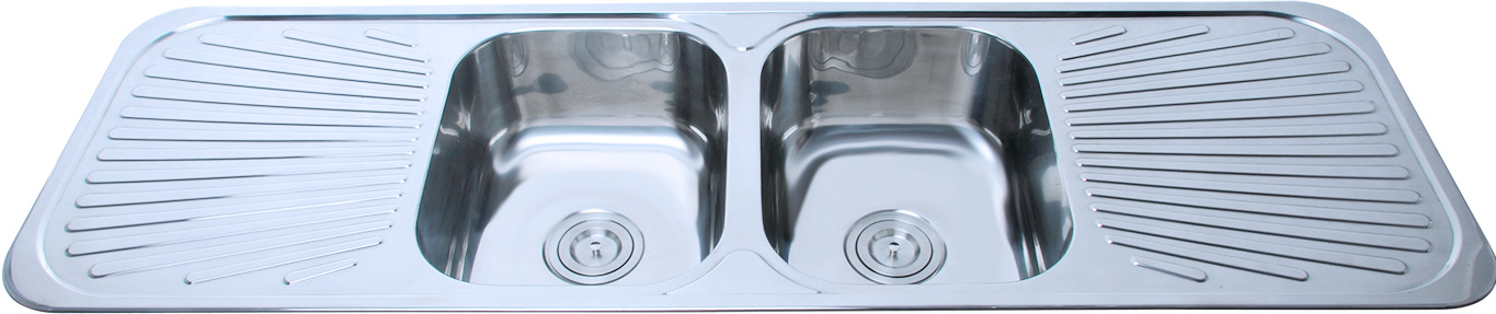australia double bowl stainless steel kitchen sink with drainer drainboard f01 - Kitchen Sink Double