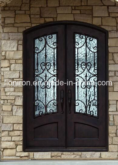 Custom Exterior Tempered Glass Door with Iron Designs