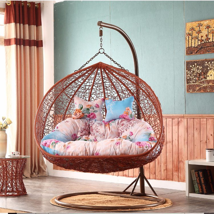 Luxury Outdoor Furniture Double Seat Swing Rattan Egg Chair Living Room Double Swing (D151)
