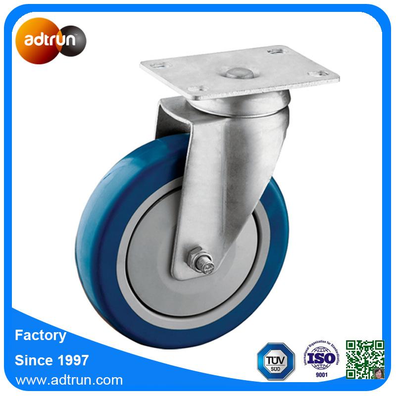 Medium Duty Blue PU Casters with Ball Bearing, Swivel Plate