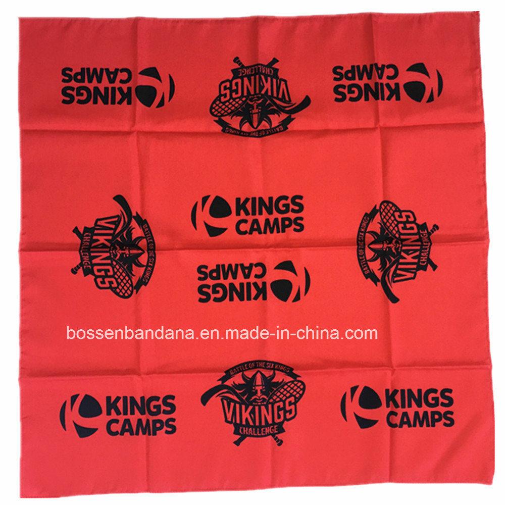 China Factory OEM Produce Customized Design Printed Red Orange Cotton Headwear Bandanna