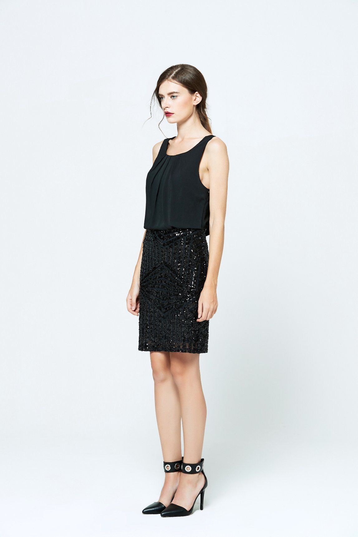 Best Price Latest Products Sequin Sleeveless Sexy Black Chiffon Dress