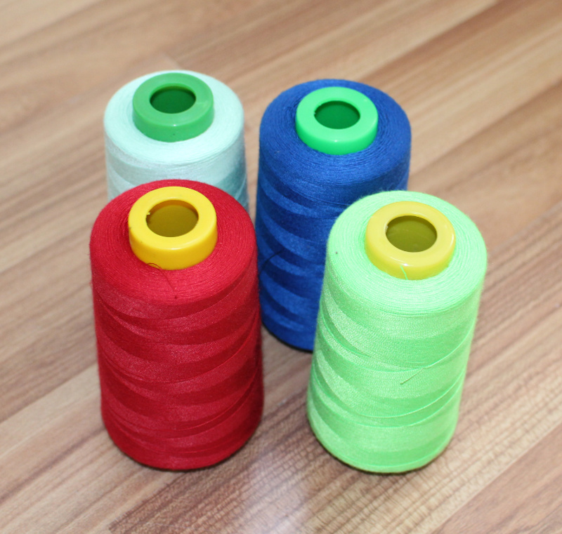 100% Polyester Spun Yarns Colorful Sewing Thread Virgin Fiber