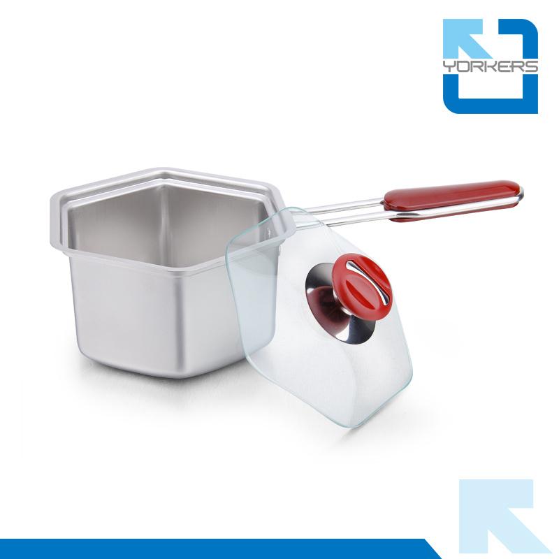 Elegant Hexagonal 304 Stainless Steel Cookware Milk Pot