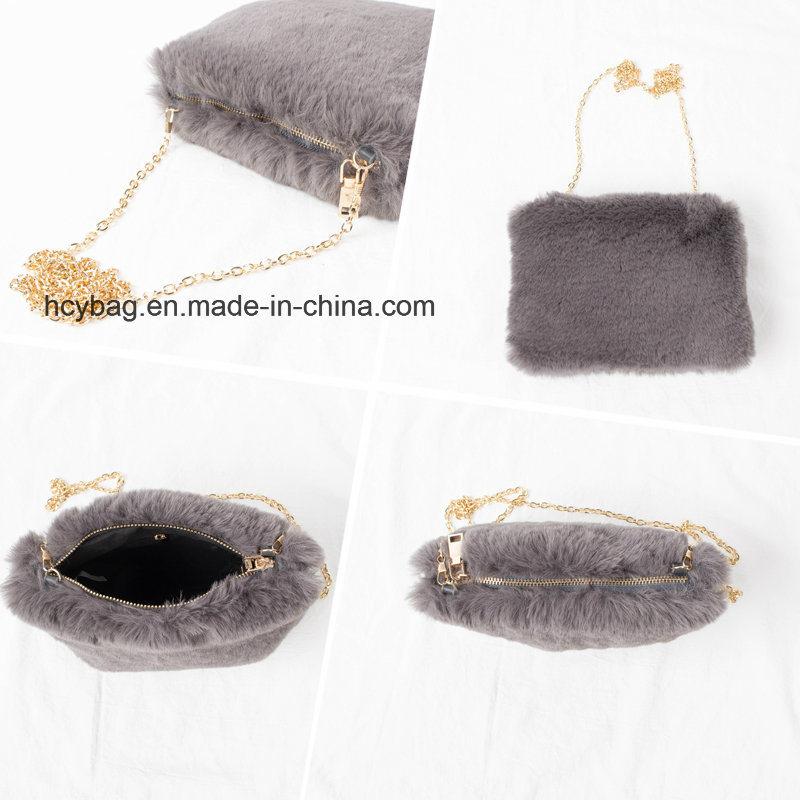 2017 Stylish Plush Womens Chain Shoulder Handbags Leisure Ladies Hand Bag Hcy-5536