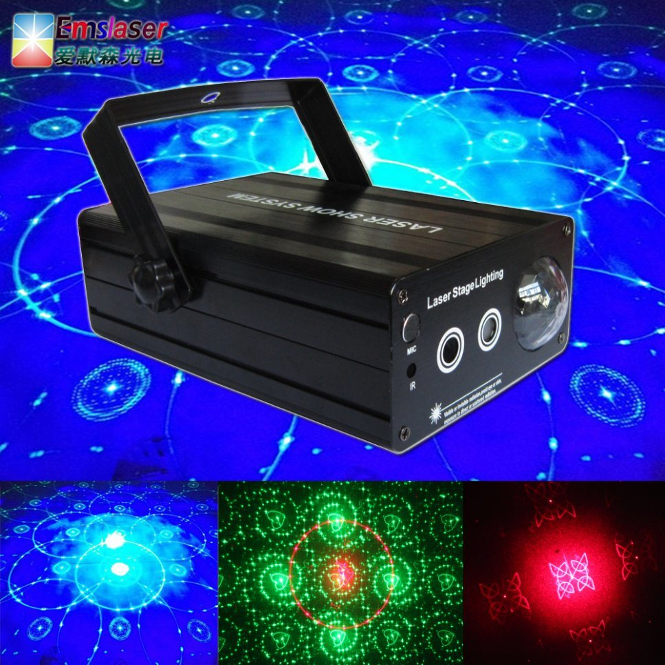 LED Laser Light 48 Patterns Disco Laser Light with LED Water Ripples Light Blue Large Angle