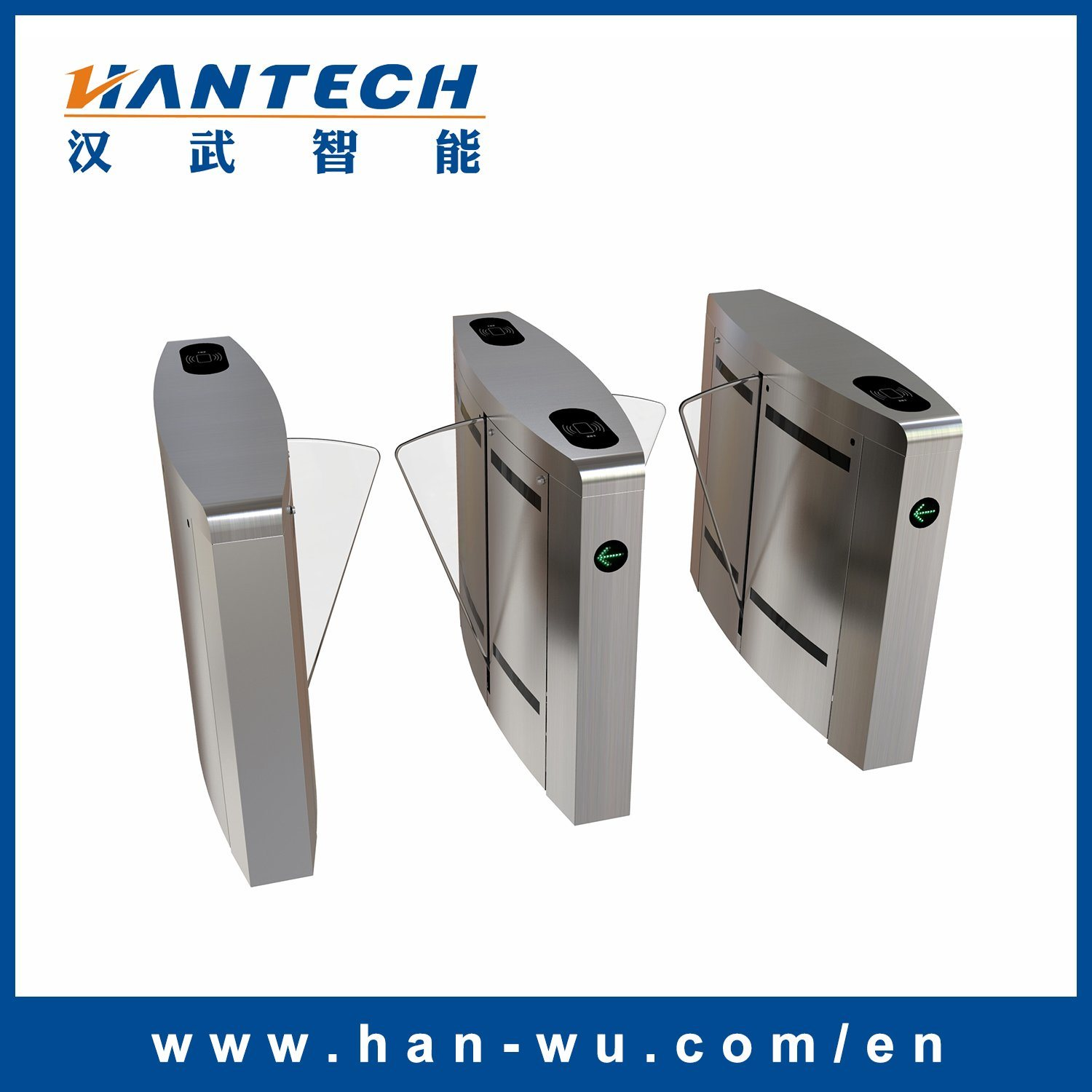 Fingerprint Time Attendance System Flap Barrier with RFID Card Access