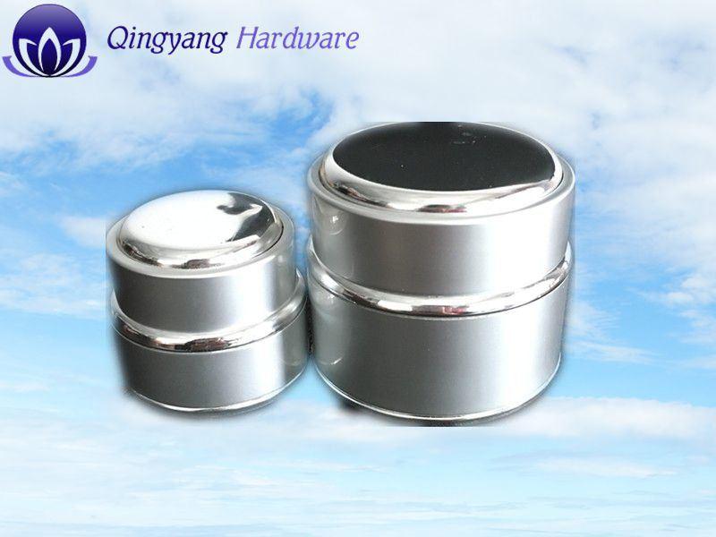 Silver/Aluminum Glass Jar W/Cap Set