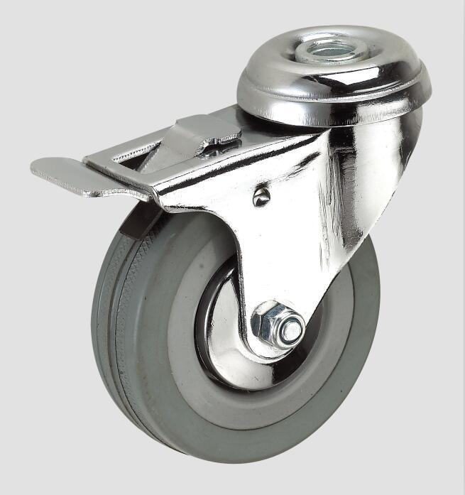 Gray Rubber Industry Caster with Whole Brake