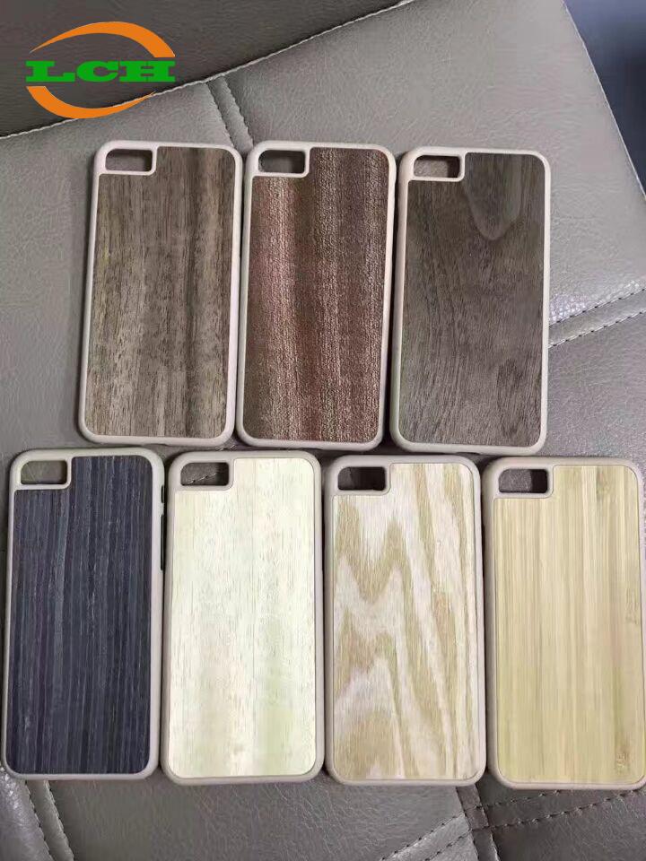 Wood Grain PU Cover PP Bumper Phone Case for iPhone/Samsung/Huawei