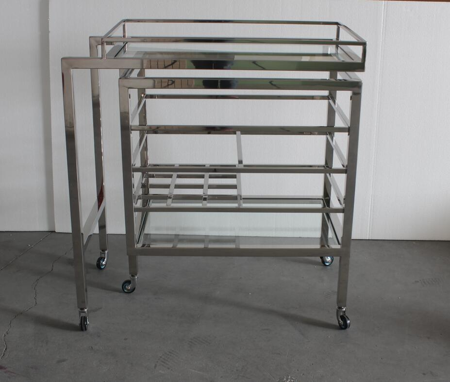 Luxury Bar Furniture Stainless Steel Trolley, Wine Cart