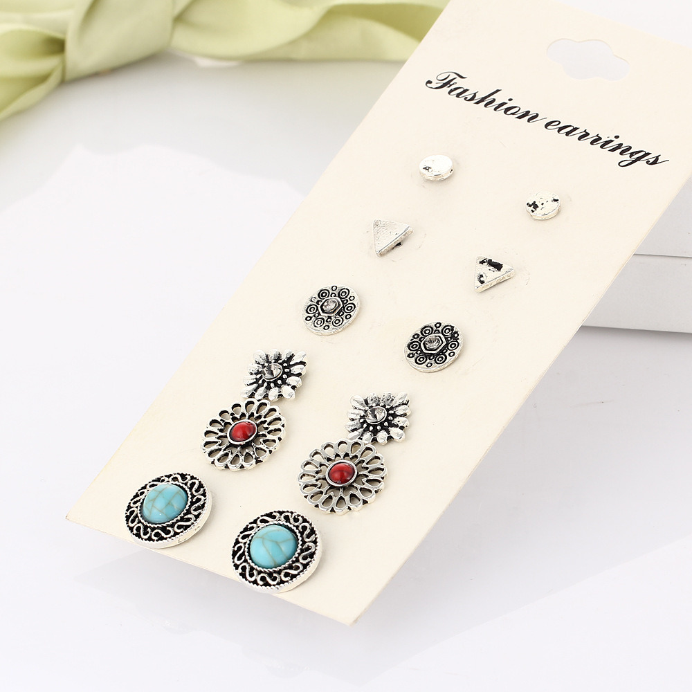 Imitation Jewelry- Turquoise Crystal Stud Earrings Set Charming Retro Anti Silver Color Earring Fashion Women Jewelry