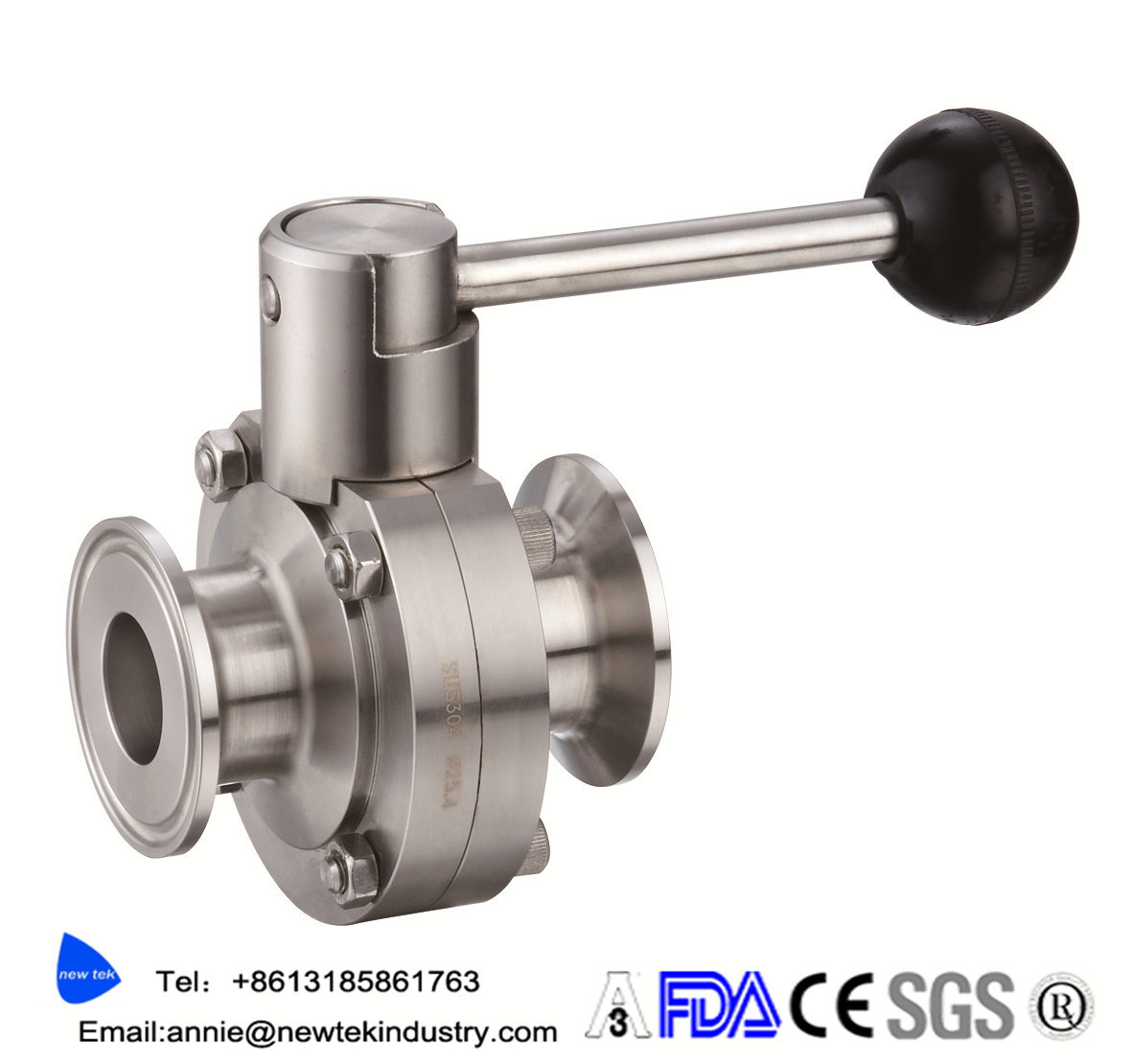 Sanitary Tri Clover Compatiable Four Position Butterfly Valve
