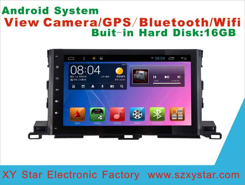 Android System DVD GPS Car Video for Highlander 10.1 Inch Touch Screen with WiFi/Bluetooth/TV