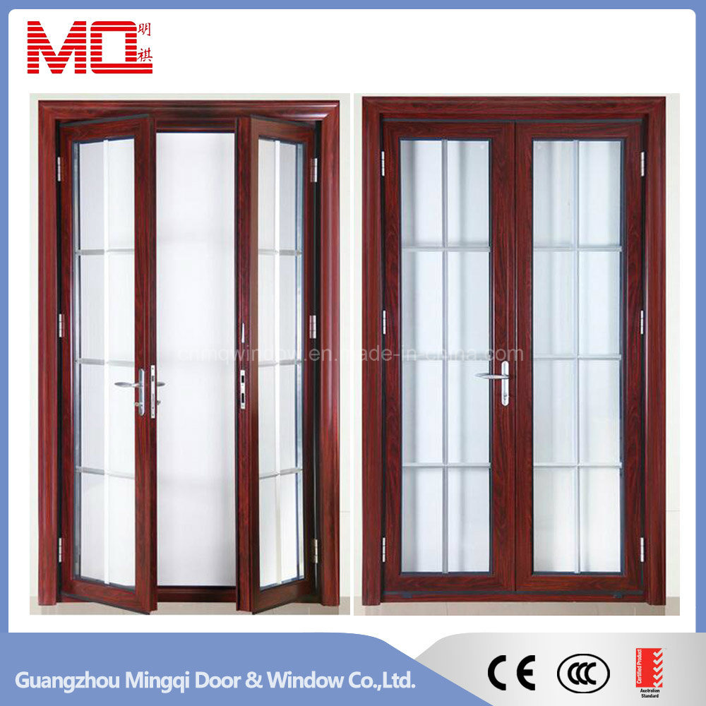 Black Color Aluminum Swing Door Unequal Double Door