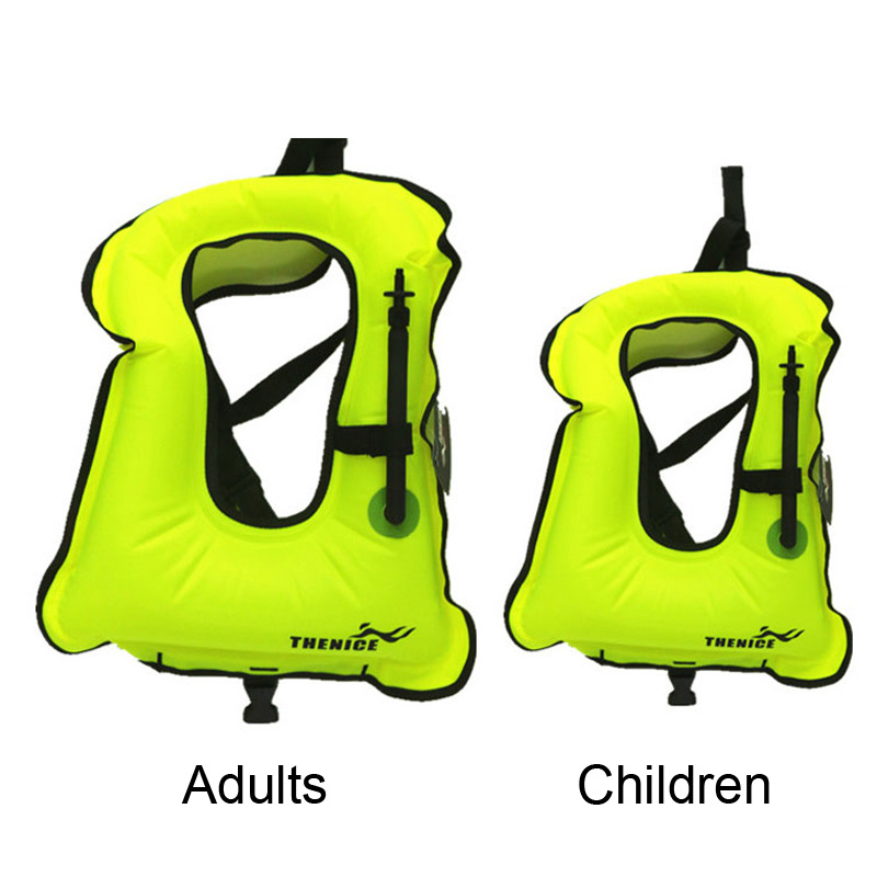 Children Portable Inflatable Canvas Life Jacket Snorkel Vest