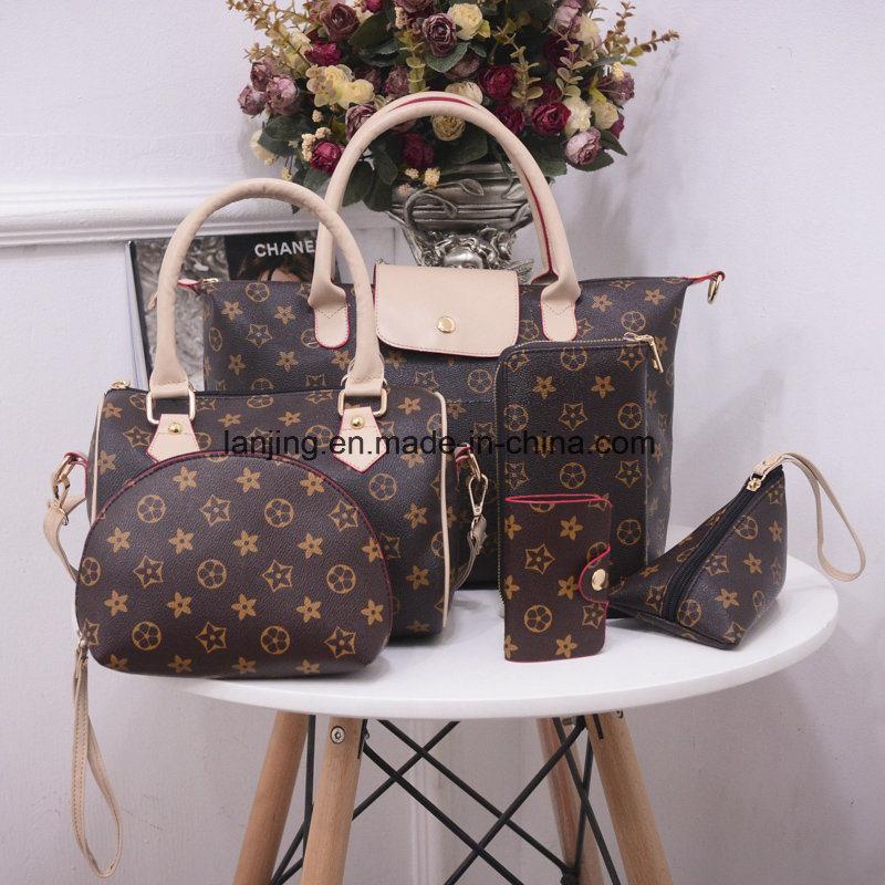 Wholesale-Leading-Supplier Women′s Leather Bag 1/2/3/4/5/6-Sets Fashion Ladies Tote Bag Handbags