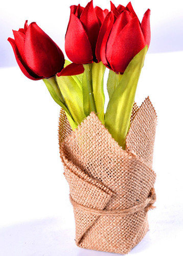 Elegant and Classical Tulip Bouquet in Flax Bag Wraped Pot as Decorations