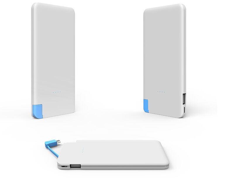 Multi-Color Metal Credit Card 5000mAh Power Bank with Lightning Adatper