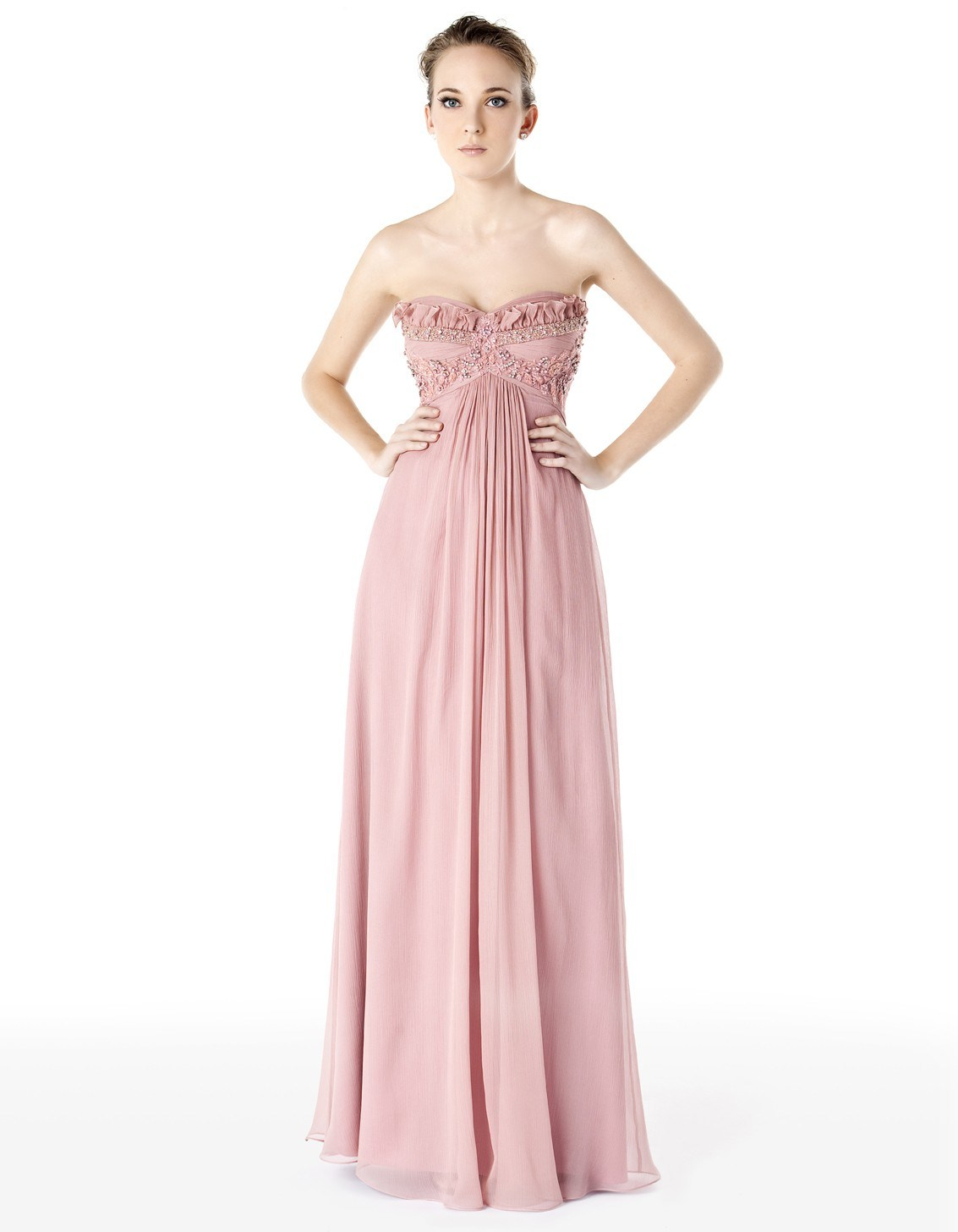 China Light Pink Strapless Chiffon Prom Dress PD015