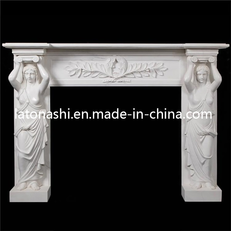 Customized Design Natural Antique White Marble Stone Fireplace for Outdoor