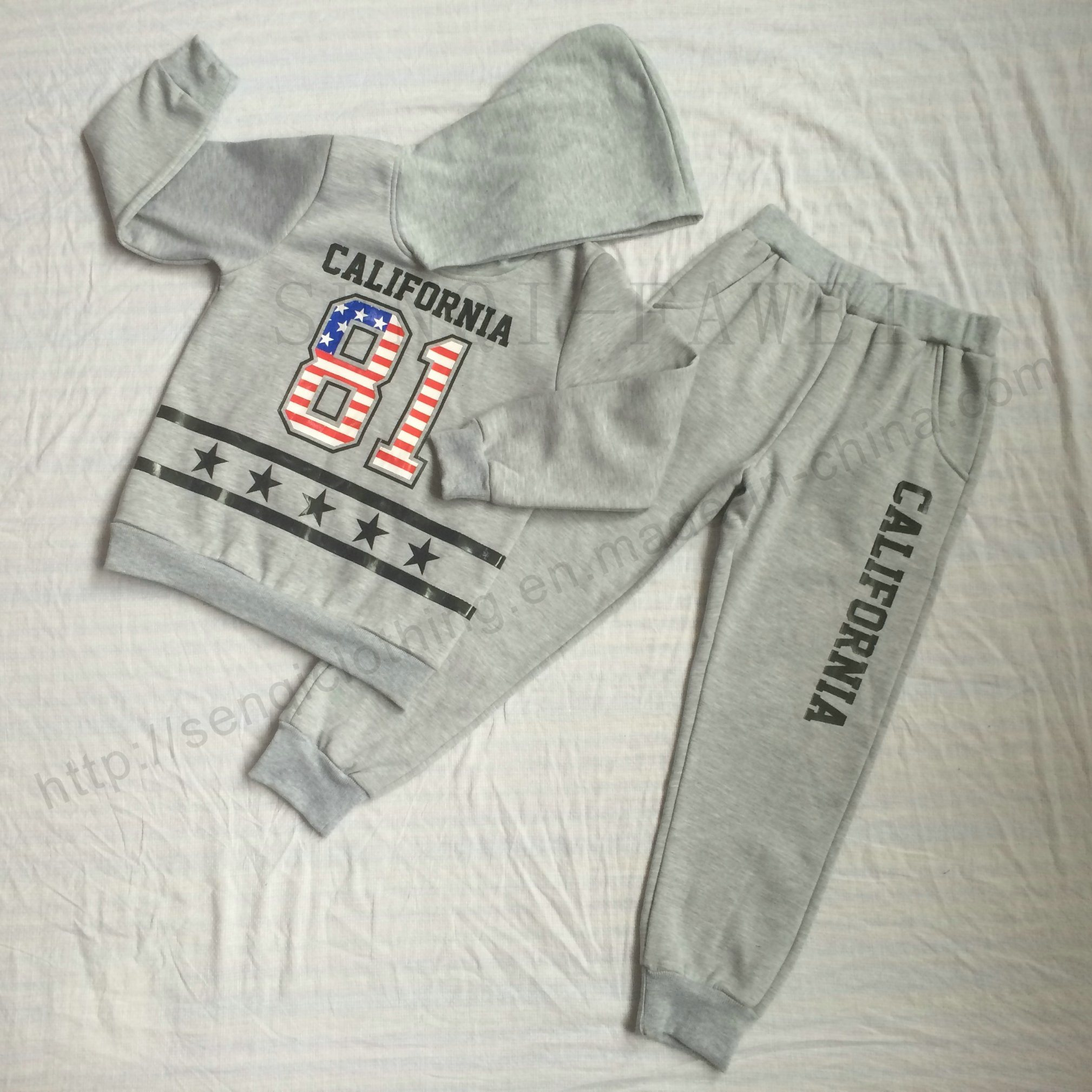 Boy Zip-up Hoodies with Pant Tracksuit Clothes in Sports Wear Clothing Sq-6710